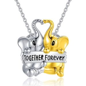 925 Silver Lucky Double Elephant Necklace gift